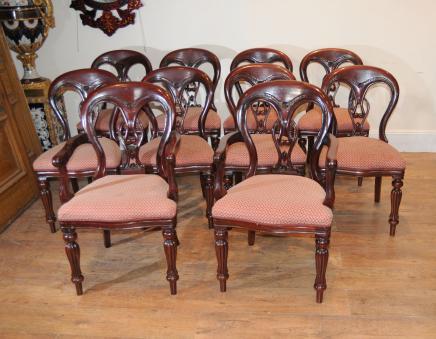 10 Ballon-viktorianischen Dining Chairs Zurück Diners