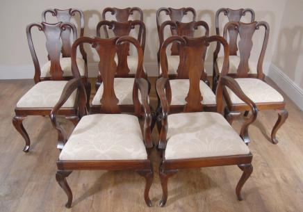 10 Englisch Mahagoni Queen Anne Esszimmerstühle Stuhl