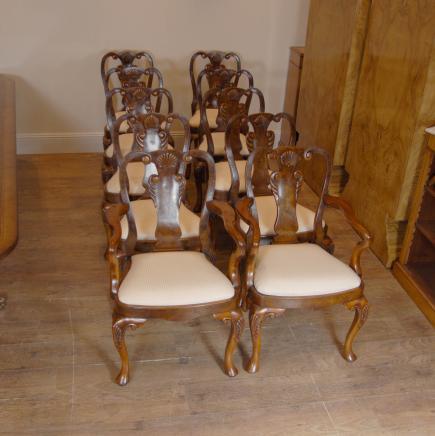 10 englischen Königin Anne Walnut Dining Chairs Ann Chair