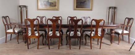 14 Fuß viktorianischen Dining Table & 10 Queen Anne Stühle Diner Set