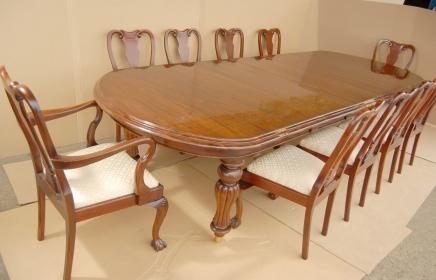 14 Fuß viktorianischen Dining Table & 10 Queen Anne Stühle