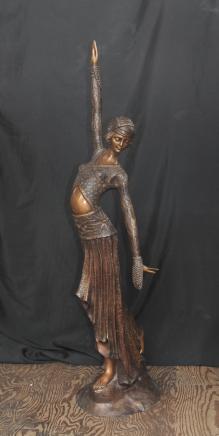 4 ft Französisch Jugendstil Bronze Figur Tänzer