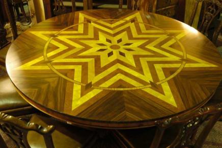 6ft Art-Deco-Inlay runde Tafel Tabellen