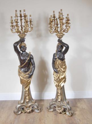 7 ft Italienisch Mohr Catyrids Kerzenleuchter Statue Mauren