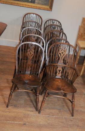 8 Antike Windsor Küche Esszimmer Stühle Set