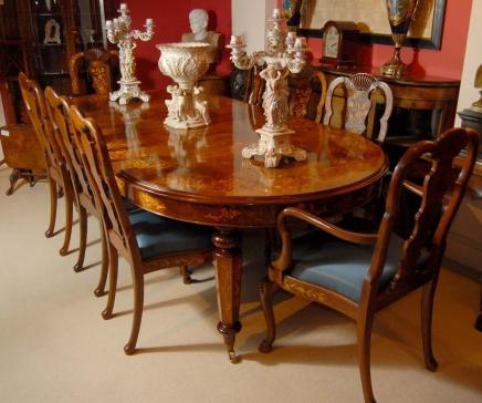8-Fuß-italienischen Intarsien Esstisch 8 Queen Anne Stühle