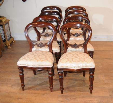 8 Mahagoni viktorianischen Dining Chairs Ballon Zurück