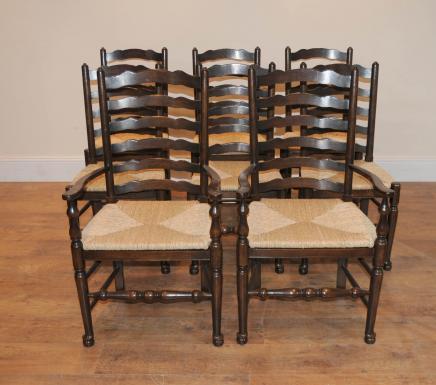 8 Solid Oak Pad Fuß Ladderküchenstühle