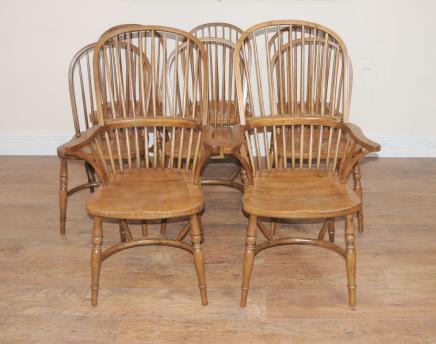8 Windsor Eiche Küche Esszimmer Stühle Bauernstuhl