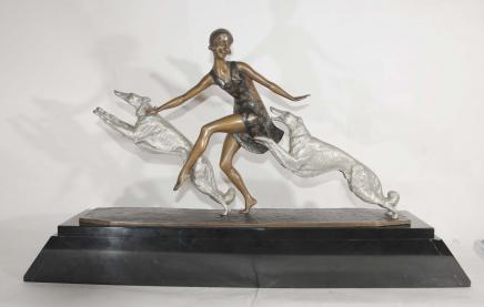 Art Deco Barsoi Hund Figurine Bronze Lormier