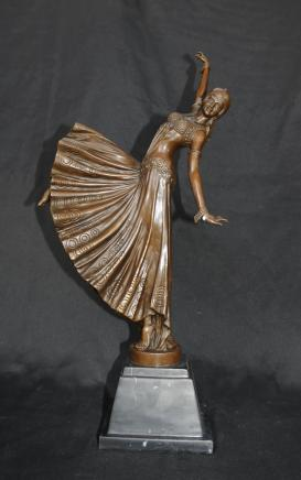 Art Deco Bronze Chiparus Figur Tänzer Signed