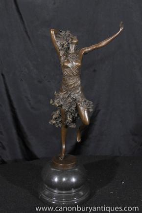Art Deco Bronze Exotic Dancer Figurine Signiert Colinet
