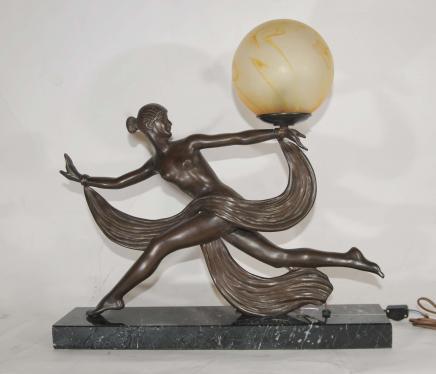 Art Deco Bronze Figur Lampe Signed Ouline 1920