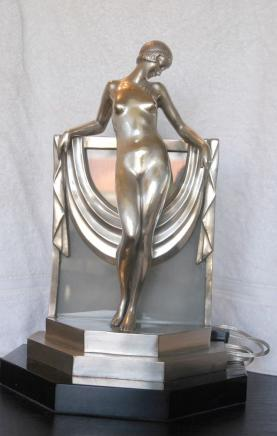 Art Deco Bronze Figur Statue Lamp Light 1920