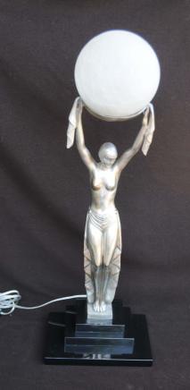 Art Deco Bronze Figur Statue Lampe Licht