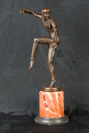 Art Deco Bronze-Statue Chiparus Harlequin Figurine Cymbal Dancer