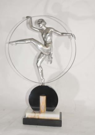 Art Deco Bronze Tänzerin signiert Hoop Limouin