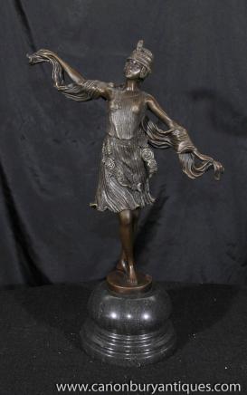 Art Deco Bronze Tänzerin türkischen Statue Signed Kernalan