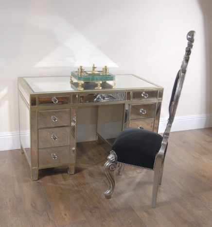 Art Deco Gespiegelte Pedestal Desk Schreibtisch