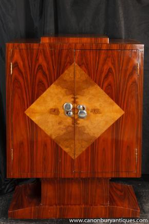 Art Deco Kabinett Mahagoni Kommode 1920er Jahren Möbel Raute Inlay