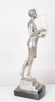 Art Deco Lady Lampe Urne Figurine Bronze Tischleuchten