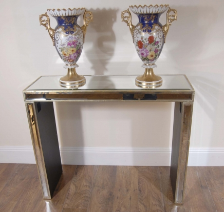 Art Deco Modernist Mirrored Console Table Retro