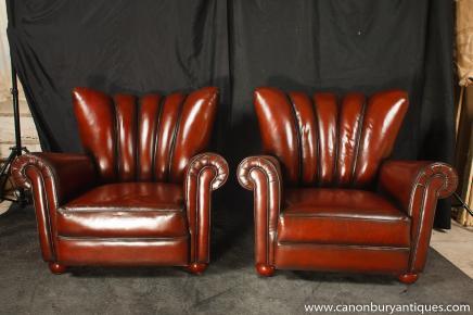 Art Deco Paar Arm Chairs ausblenden Ledercouch Sitze