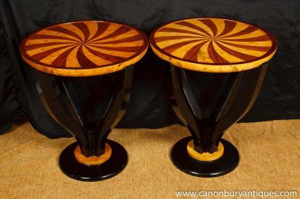 Art Deco Paar Inlay Cocktail Tische Beistelltisch 1920er Jahren Möbel