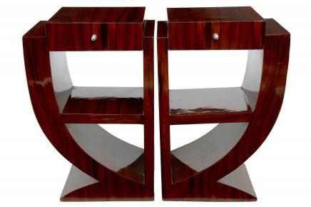Art Deco Paar Rosewood Nachtnachttische Möbel