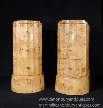 Art Deco Paar Walnut Nachtschränke Schubladen Tabellen Nighstands Crinkle