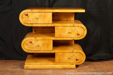 Art-Deco-S-Form-Bücherregal Kommode Schubladen