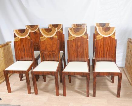 Art Deco Set Esszimmerstühle Inlay Chair 1920er Jahren Möbel
