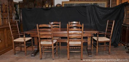 Bauernhaus Küche Dining Set Refektorium Tabelle Set Ladder Stühle