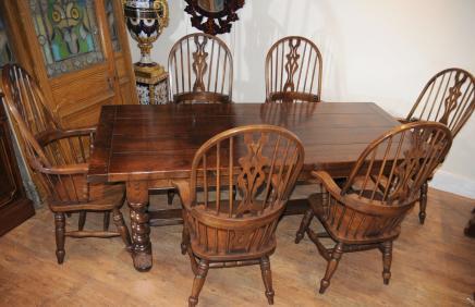Bauernhaus Refektorium Tisch Set Windsor Arm Stühle Küche
