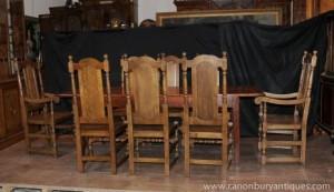 Bauernhof Dining Set Oak Refektorium Tabelle Willam und Mary Stühle