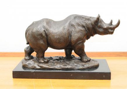 Bronze Casting African Rhino Rhinoceros Stammes-Kunst