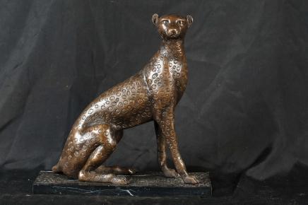 Bronze Casting Leopard Cat Statue Tier