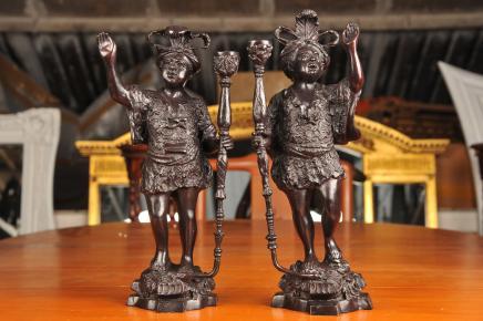 Bronze Italienisch Mohr Figuren Statuen Mohren