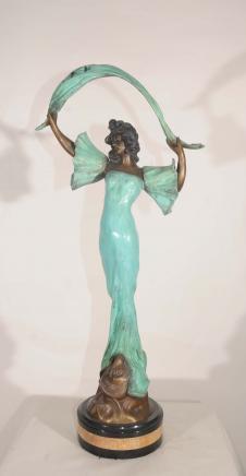Bronze Jugendstil weiblich Signed Ant Nelson Figur Statue
