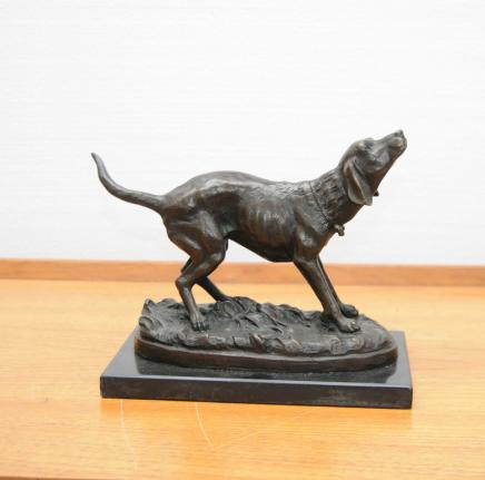 Bronze Labrador Dog Statue Signed Milo