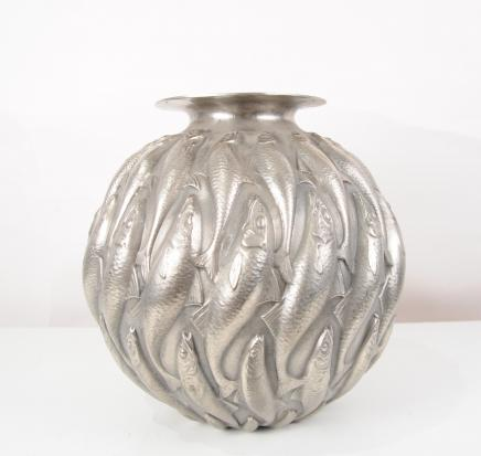 Bronze Lalique Marisa Goldfish Bowl Jugendstil-Blumenkasten Dish Fisch