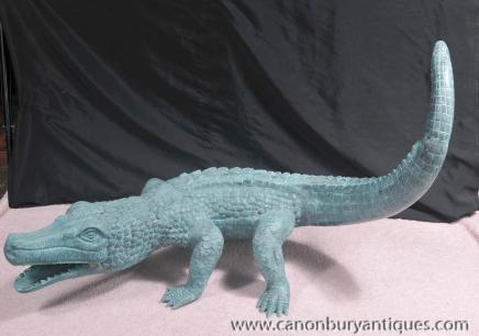 Bronze Statue Crocodile Alligator Casting Reptilien Tiere