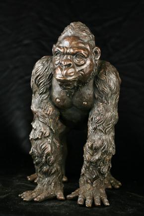 Bronze Statue Gorilla Affe Primate Art Garden Abbildung