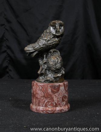 Bronze Statue Owlet Schleiereule Vogel Prey Casting