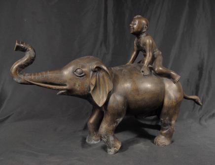 Chinese Tang Bronze Elephant & Boy Casting Elephants