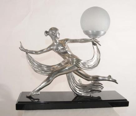 Deco Bronze-Licht-Lampe Signed Ouline 1920er Jahren Französisch Kunst