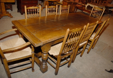 Englisch Abbey Rustic Refektorium Tisch & Stuhl Set 8 Spindleback