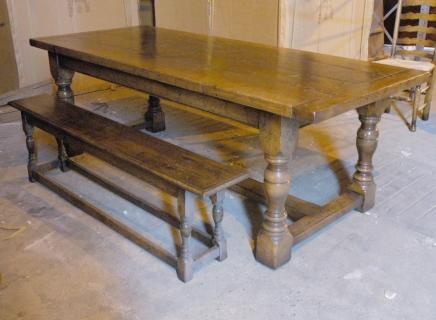 Englisch Abtei Eiche rustikal Refektorium Tisch Bank Dining Set