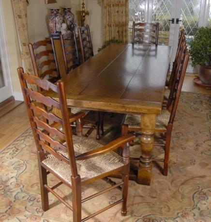 Englisch Bauernhaus Refektorium Tisch und 8 Stühle Ladder