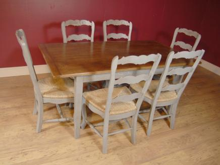 Englisch Bauernhof Painted Ladder Chair & Kitchen Refektorium Tisch-Set